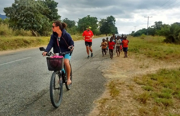 brendan rendall with emma timms and malawi children