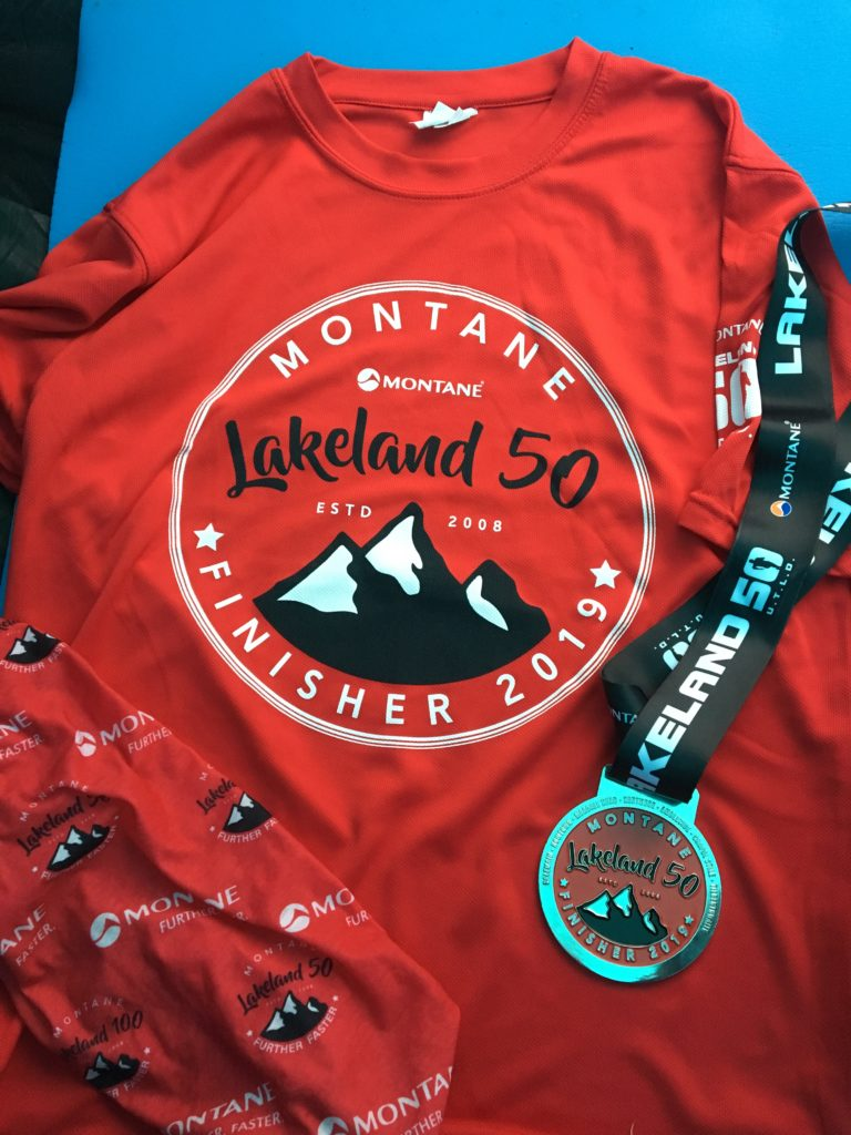 Lakeland 50 finishers t-shirt and medal